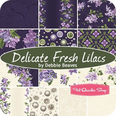Delicate Fresh Lilacs Fat Quarter Bundle<BR>Debbie Beaves for Maywood Studios Fabric