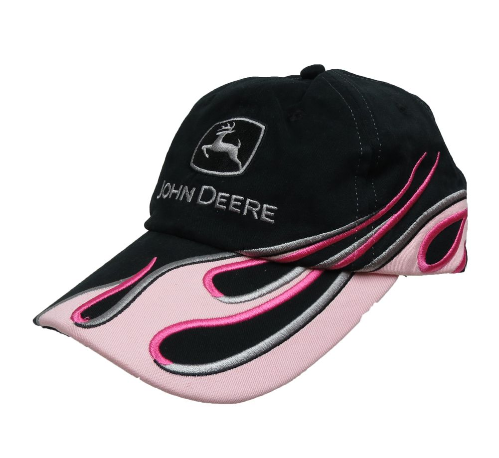 John Deere Pink Black and Pink Flame Cap  fe81169f7fa