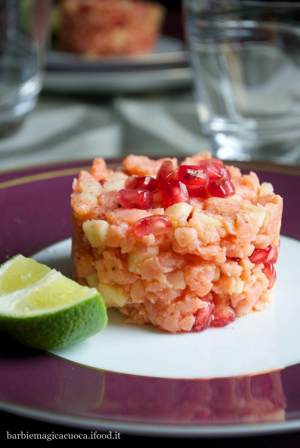 Tartare di salmone, mela verde e melograno | Cucina | Pinterest ...