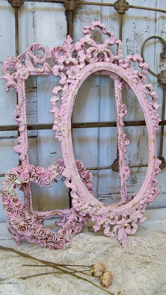 717e350a87aa Vintage ornate frame grouping pink white shabby cottage distressed wall  decor Anita Spero