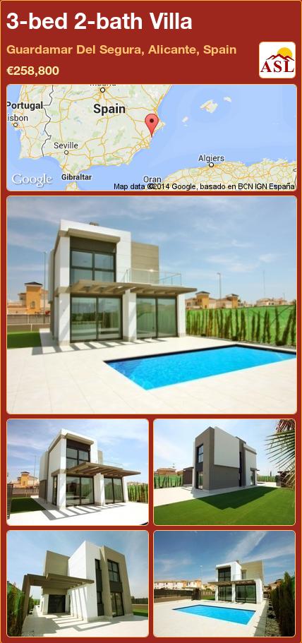 3-bed 2-bath Villa in Guardamar Del Segura, Alicante, Spain ►€258,800 #PropertyForSaleInSpain