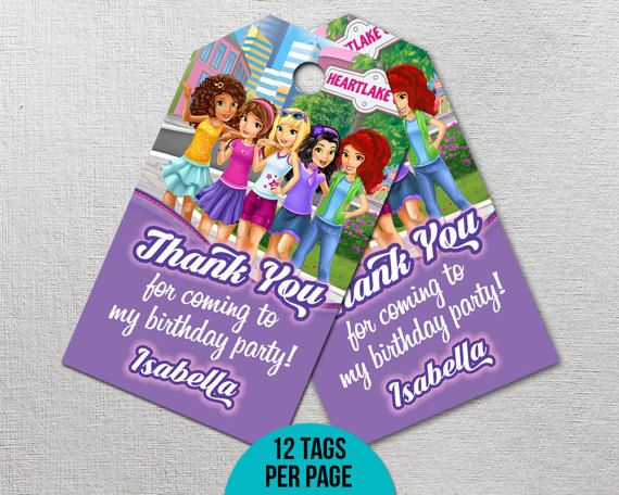 Lego Friends Thank You Tags Lego Friends Birthday Decor Imprimible Party Favors Lego Pr Lego Friends Birthday Party Lego Friends Birthday Lego Friends Party