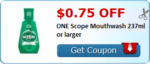 Scope Mouthwash only $0.24 at CVS - http://www.savingwellspendingless.com/2015/12/11/scope-mouthwash-only-0-24-at-cvs/?Pinterest