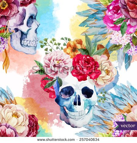 Watercolor Skull Flowers Indian Boho Ethnic Pattern Wallpaper
