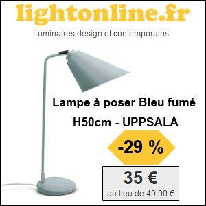 #missbonreduction; 29% de réduction sur la Lampe à poser Bleu fumé H50cm - UPPSALA chez Lightonline. http://www.miss-bon-reduction.fr//details-bon-reduction-Lightonline-i852649-c1826676.html