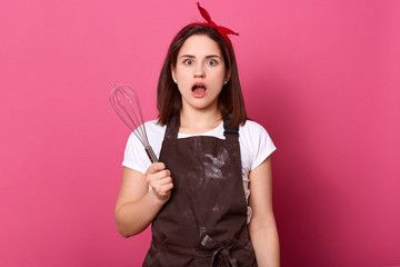 Image of astonished good looking female standing isolated over pink background in studio opening her eyes and mouth widely looking directly at camera holding whisk in one...