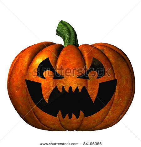 halloween pumpkin with jack olantern carved scary face isolated illustration white background cutout - Scary Halloween Pumpkin Faces