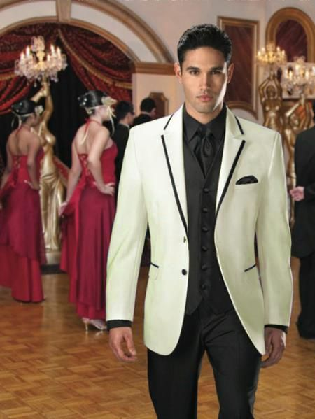 Two Button Colored Tuxedo or Formal Suit & Blazer with Black Edge