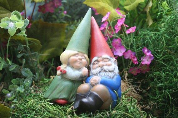 Miniature Garden Gnomes In Love Mr Mrs Gnome By Phenomegnome Gnome Garden Miniature Garden David The Gnome