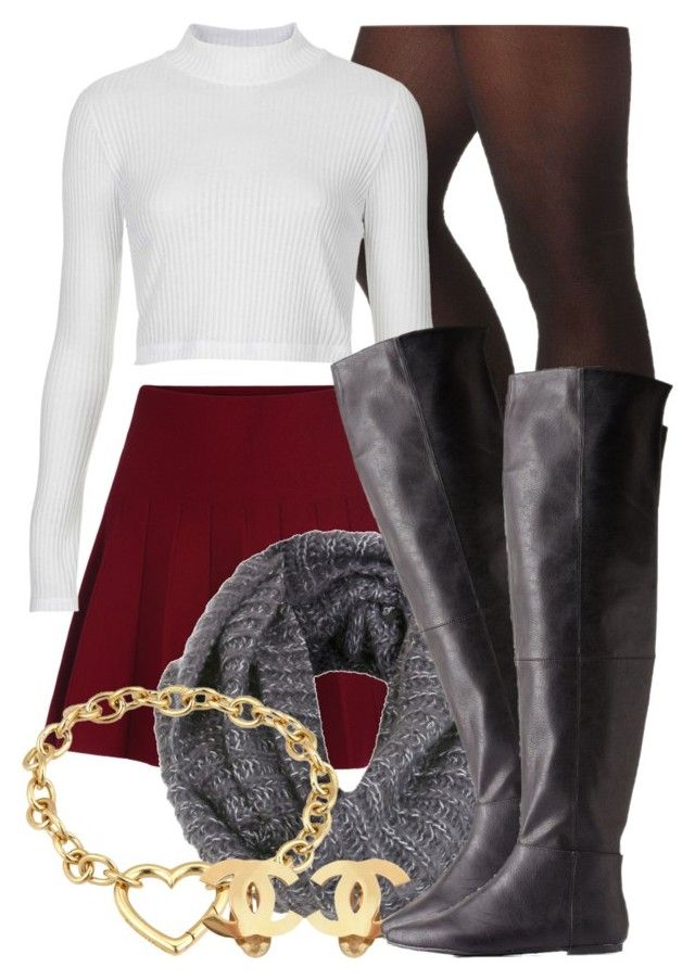 """""""Fall Set 9 13 15"""" by miizz-starburst ❤ liked on Polyvore featuring moda, Charlotte Russe, Topshop, Miss Selfridge, Tiffany & Co. y Chanel"""