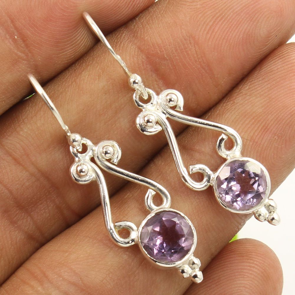 925 Sterling Silver Vintage Boho Tribal Ethnic Style Boho Three Strand Necklace of Faceted Amethyst Artisan Hand Crafted Moonstone