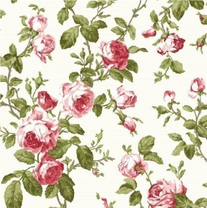 Tapisserie Luxe Rouge Rose Floral - 40171 Héritage Large Floral Rose - Idee Deco Cuisine Vintage
