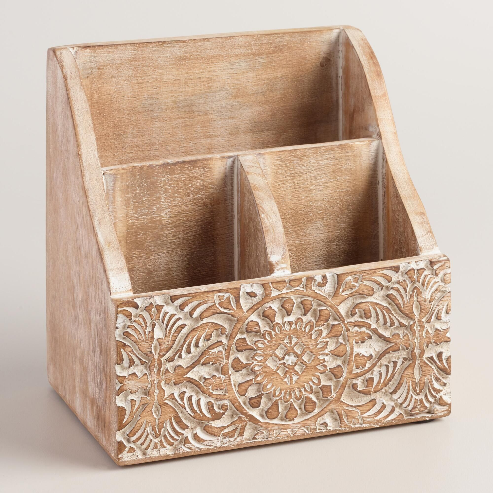 Elevate Everyday Office Supplies With Our Three Compartment Organizer Handcrafted In India With An In Wooden Desk Organizer Desk Organization Hand Carved Wood