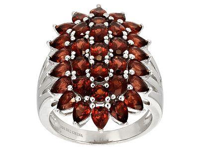 6.08ctw Mixed Vermelho Garnet(Tm) Sterling Silver Cluster Ring