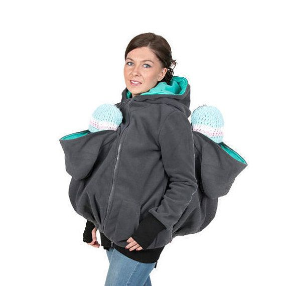 3 in 1 TWINS Maternity Pregnancy Multifunctional Kangaroo hoodie baby  carrying hoodie XXL XXXl Graphite Teal 30023871f0f