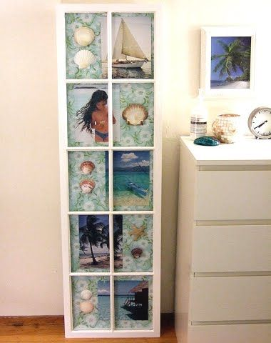 old window decor ideas using old window frames for wall decor for coastal style living - Window Picture Frame Ideas