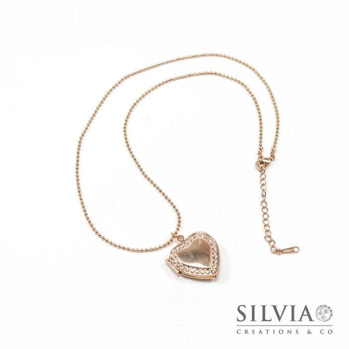 informazioni per f0a40 30fe1 Collana ciondolo portafoto a cuore con strass oro rosato 22 ...