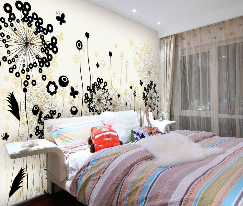 wanddeko für schlafzimmer motive blumen modern streifen bettwaesche ...