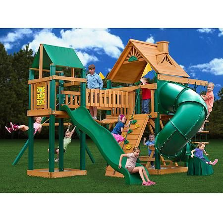 Gorilla Playsets Catalina Wooden Swing Set With Clatter Bridge And