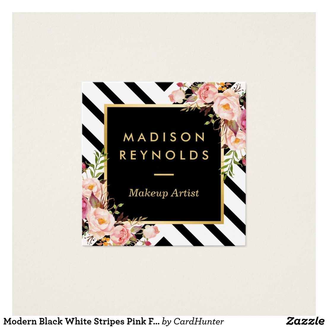 Modern Black White Stripes Pink Floral Gold Frame Square Business