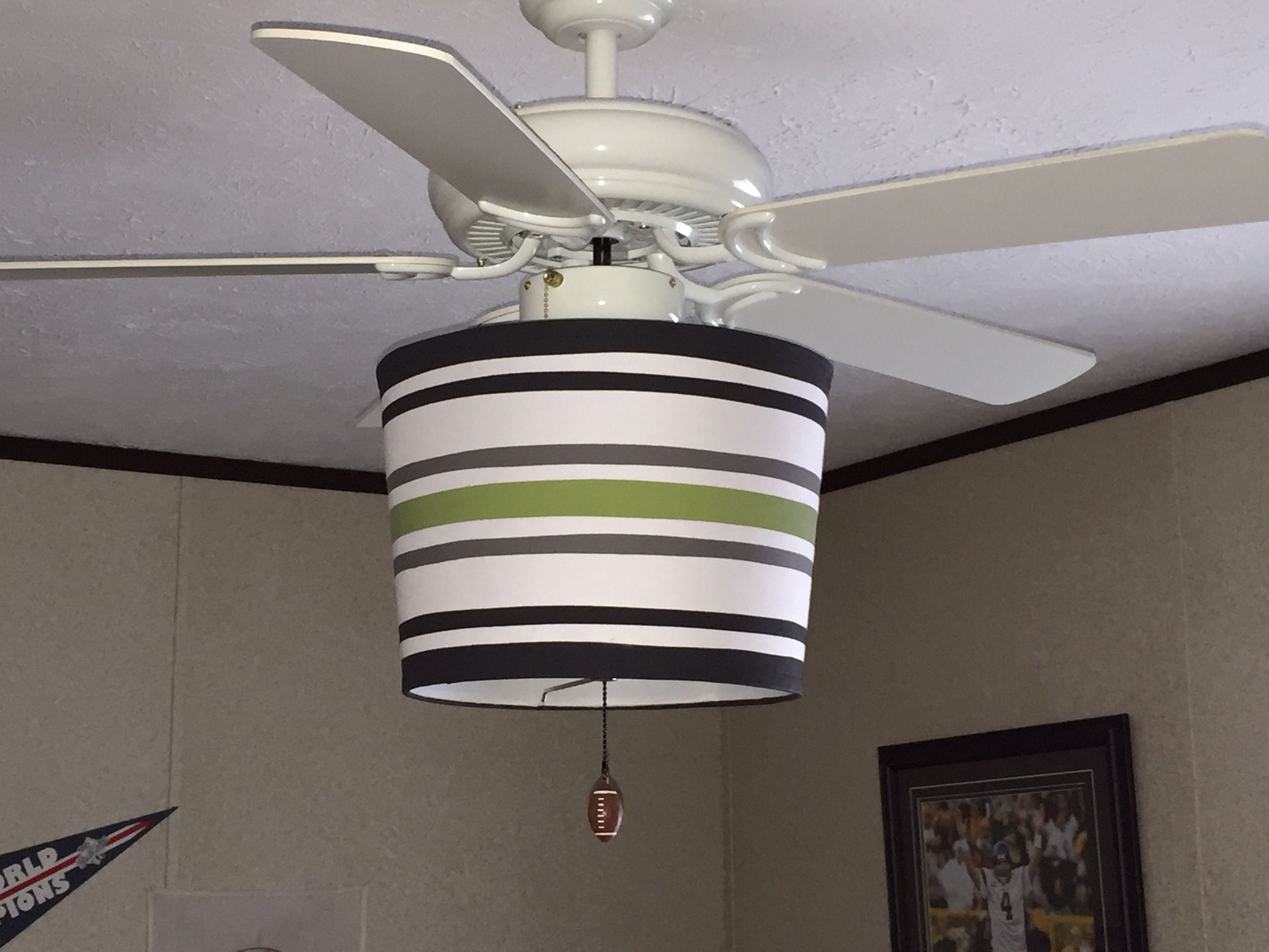Ceiling fan drum shade turned upside down painted with