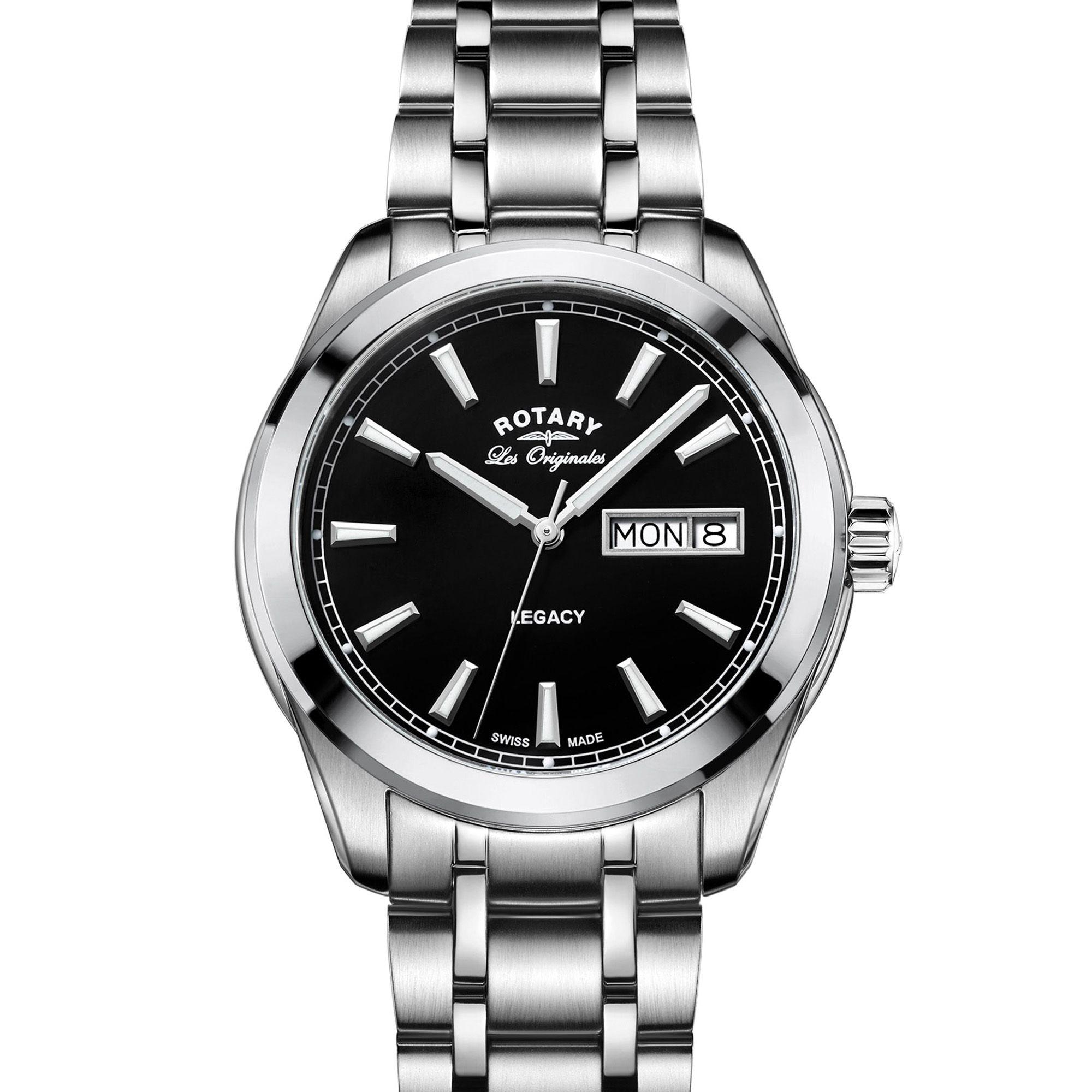 Rotary Legacy Mens Stainless Steel Swiss Watch Gb90173 04 Tissot Prc 200 T0554301105700 Black