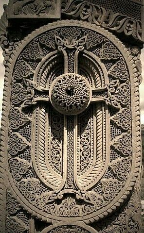 Armenian cross stone called khachkar, khach - cross, kar- stone in Armenian, love this masterpiece
