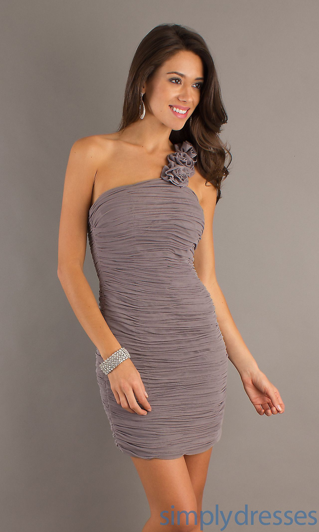 Short one shoulder ruched dress there are some other more sparkly