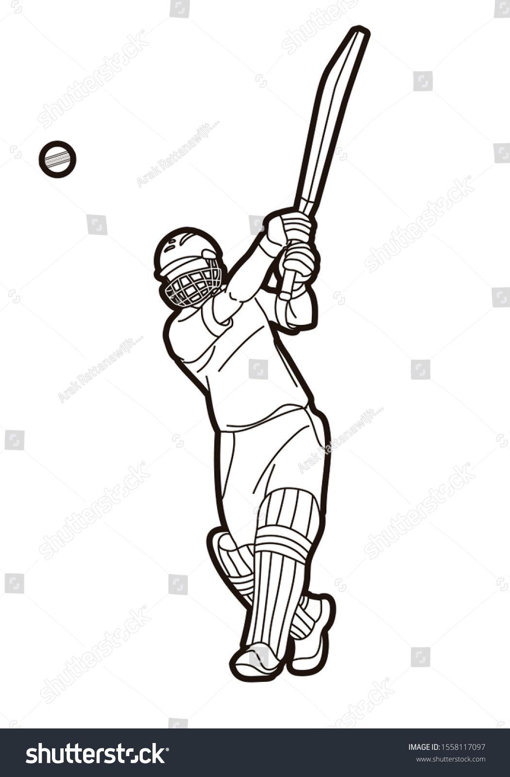 Cricket Batsman Sport Player Action Cartoon Graphic Vector Ad Ad Sport Player Cricket Batsman Sport Player Players Cartoon