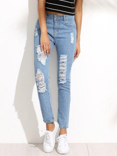 25ac5a326 Pantalones rotos hilos denim - azul claro