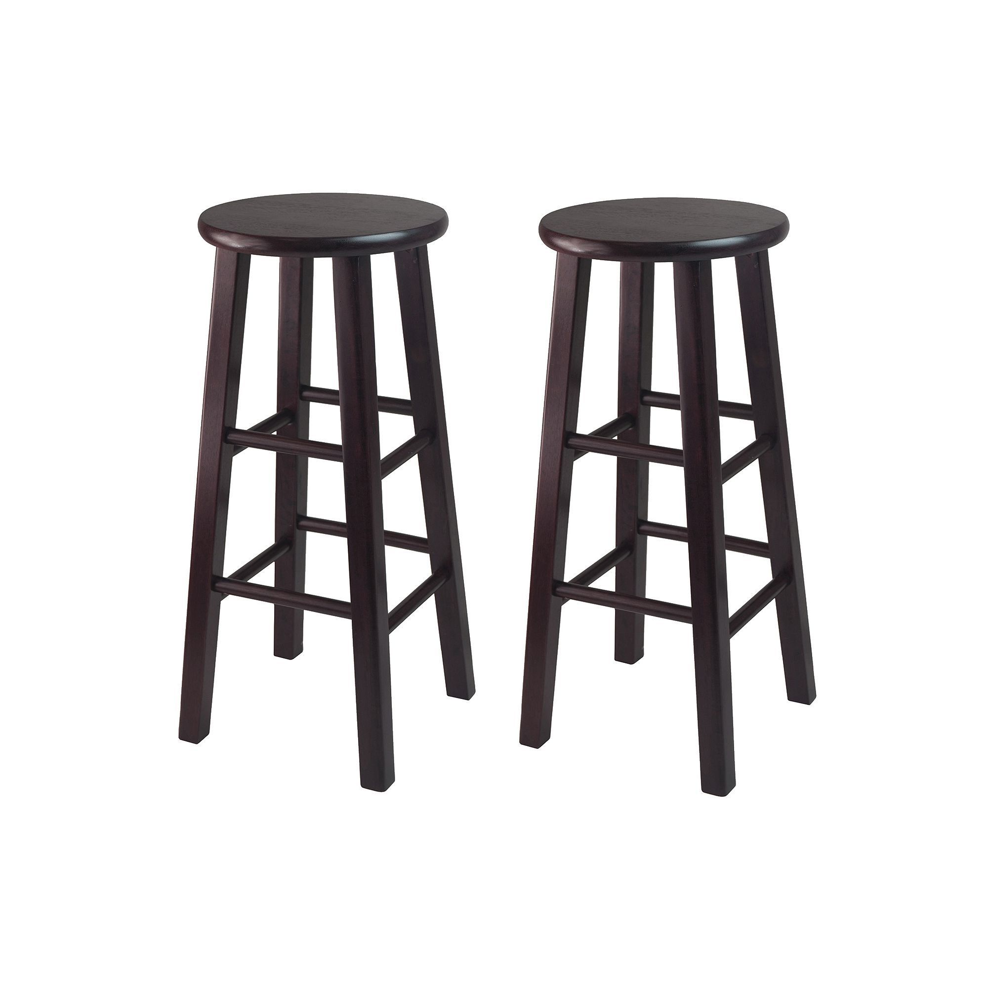 Winsome 2 Pc Espresso Bar Stool Set Wood Bar Stools Bar Stools