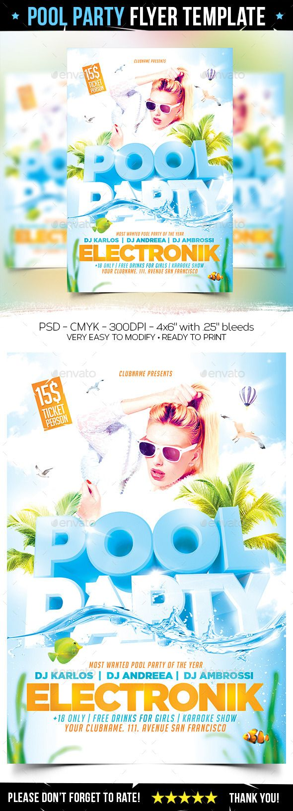 Pool Party Flyer Template U2014 Photoshop PSD #summer #sun U2022 Available Here →  Https://graphicriver.net/item/pool Party Flyer Template/11894649?refu003dpxcr