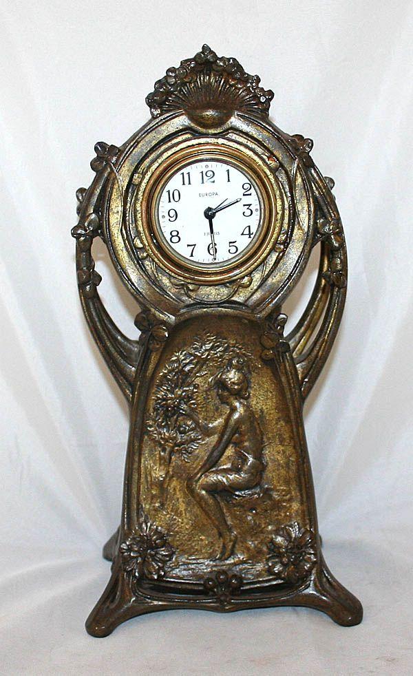 Bronze Art Nouveau Clock Antique Clocks