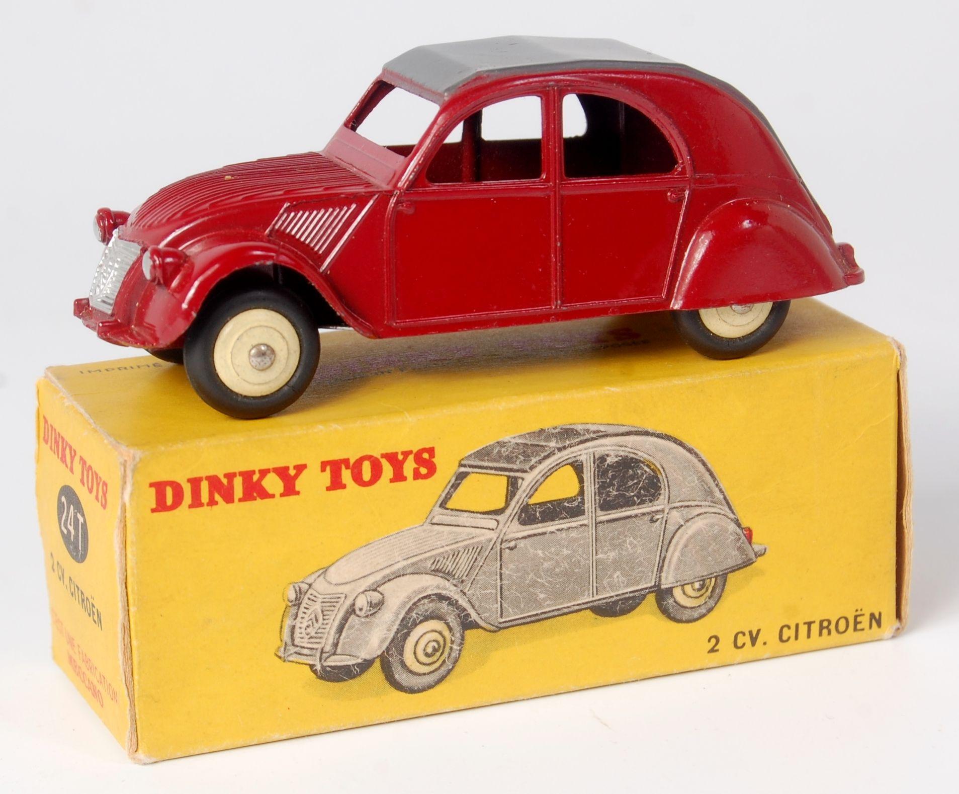 Dinky France 24t 2cv Citroen Maroon Body Matt Grey Hood Cream Convex Hubs No Defects Seen N Corgi Toys Toys Toy Car