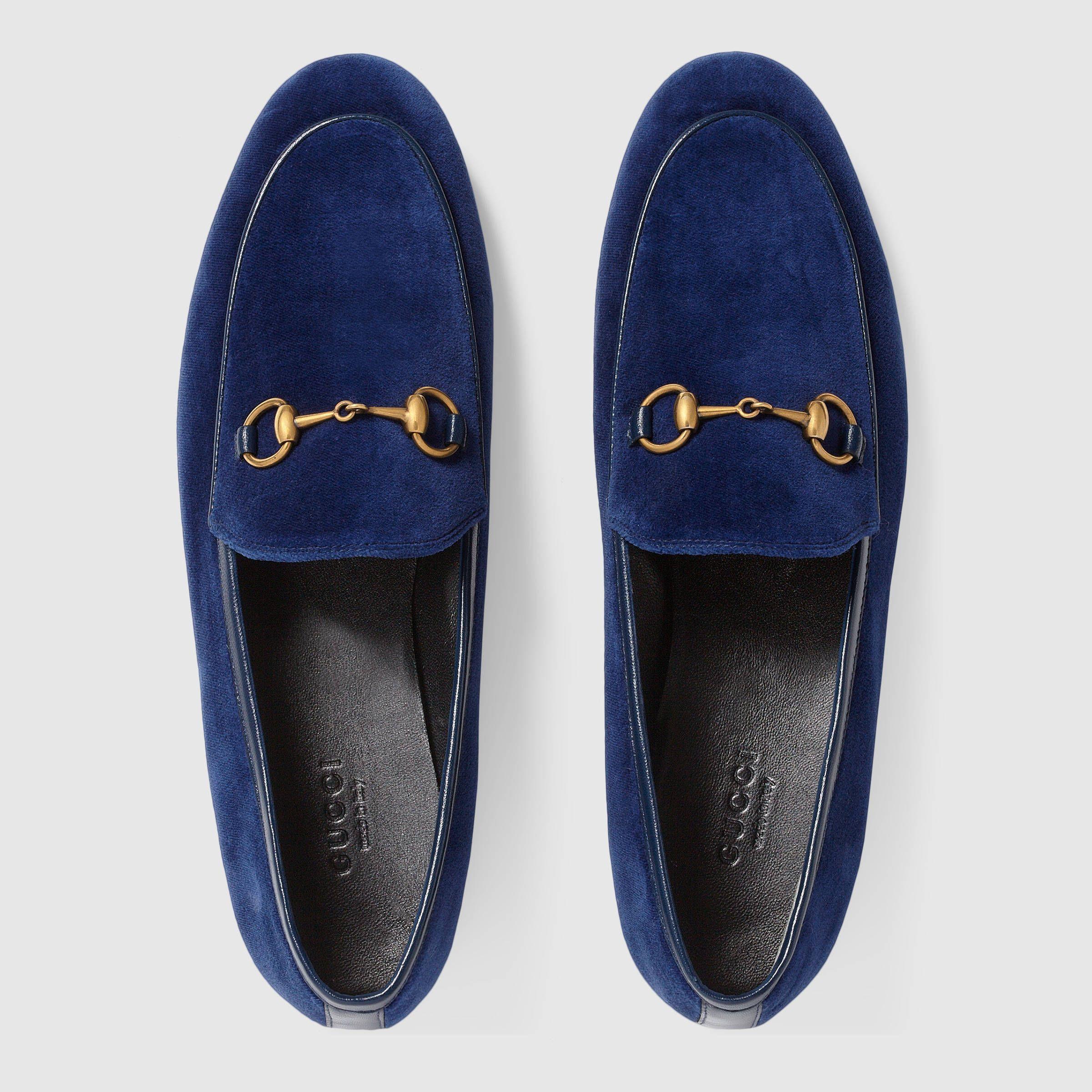 Velours Gucci Gucci Jordaan Mocassin - Bleu zO5G16e67