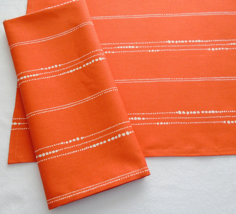 Beads Orange Tea Towels Set Of 2 Orange With White Dots Etsy