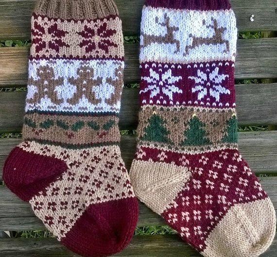 Rustic Christmas Stockings PDF Pattern, Fair Isle Stocking Pattern ...