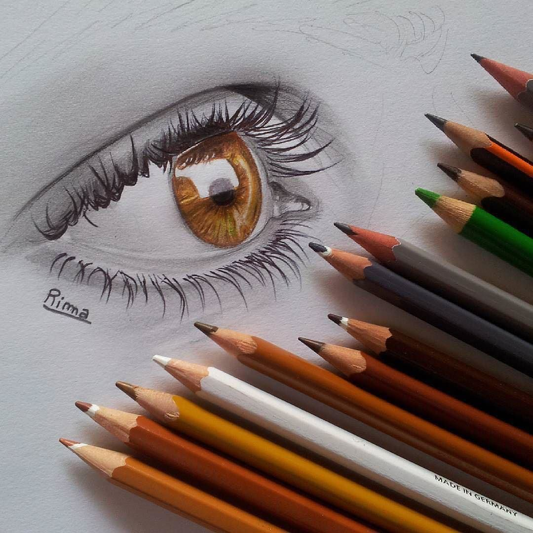 Colour pencil sketch of the eye.