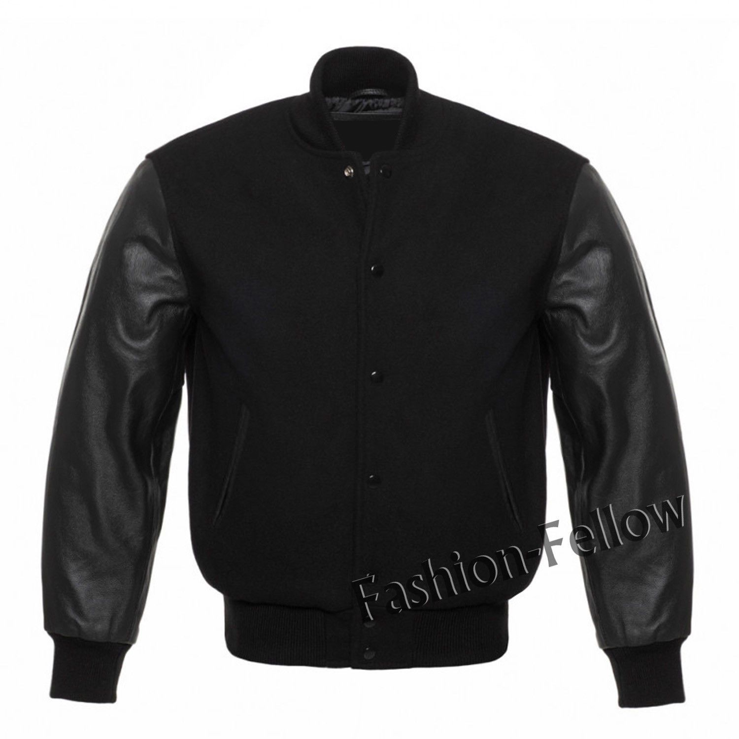 Classic Varsity Letterman bomber jacket Black Wool Body