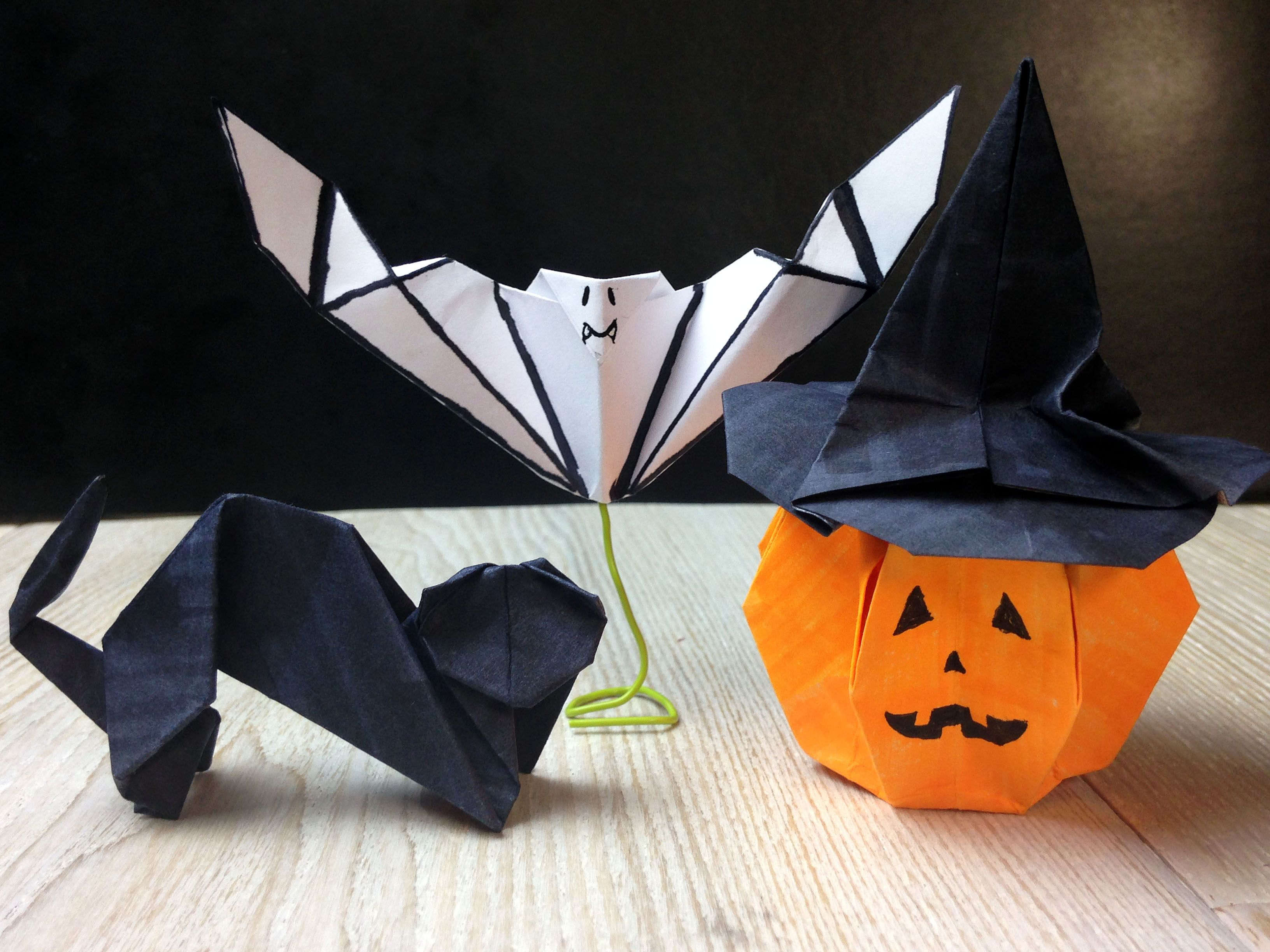 Halloween origami cat origami pumpkin origami witch hat origami halloween origami cat origami pumpkin origami witch hat origami and bat origami jeuxipadfo Gallery