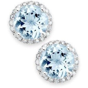14k White Gold Earrings, Aquamarine (2 ct. t.w.) and Diamond (1/5 ct. t.w.) Stud Earrings