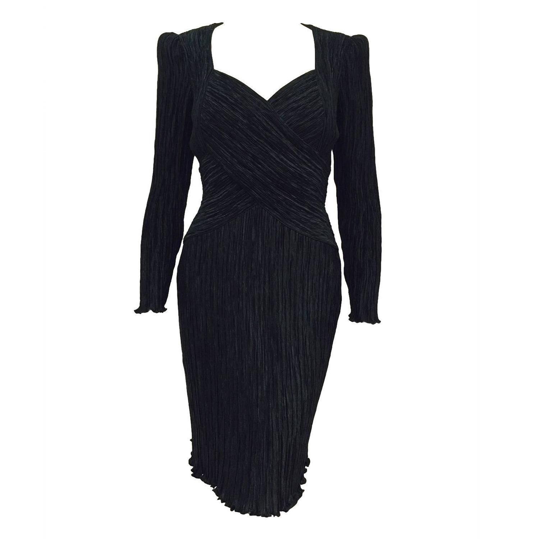 Vintage mary mcfadden couture black marii pleated long sleeve