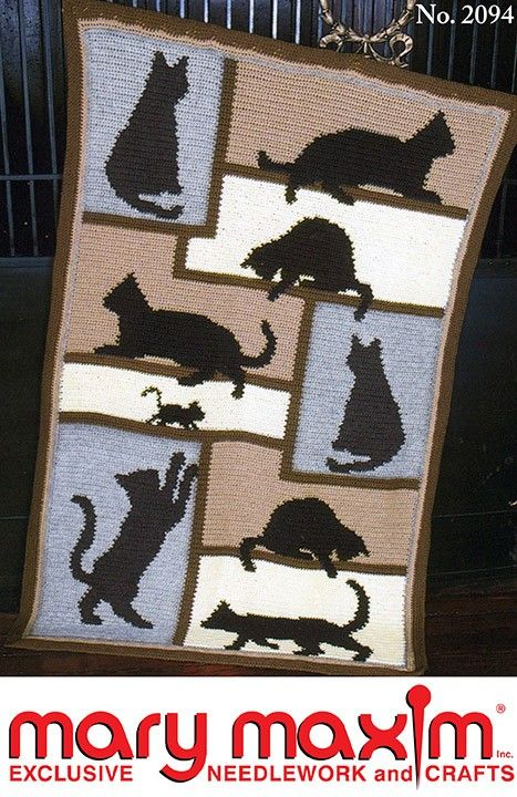 Cat Silhouette Afghan - Crochet this afghan using Mary Maxim Worsted ...