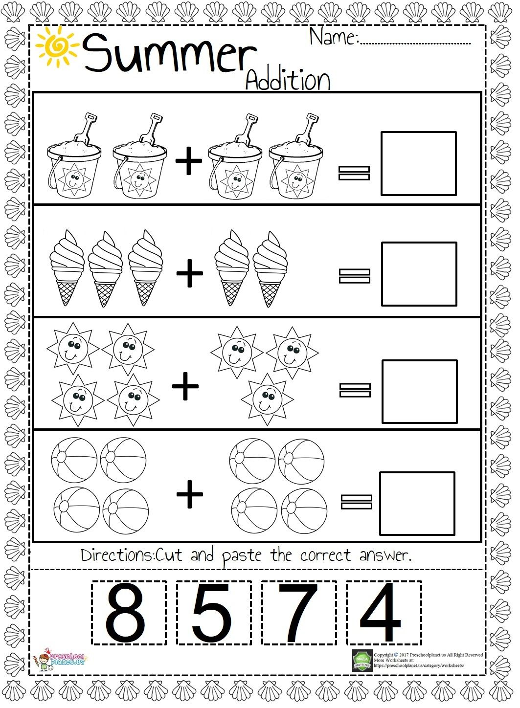 Summer Addition Worksheet   Kindergarten addition worksheets [ 1448 x 1063 Pixel ]
