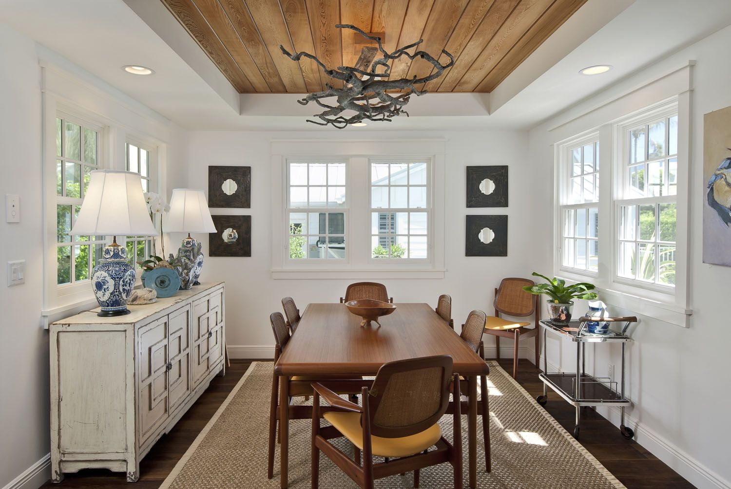 Tray Ceiling With Stained Plank Inset Dining Room Ceiling False