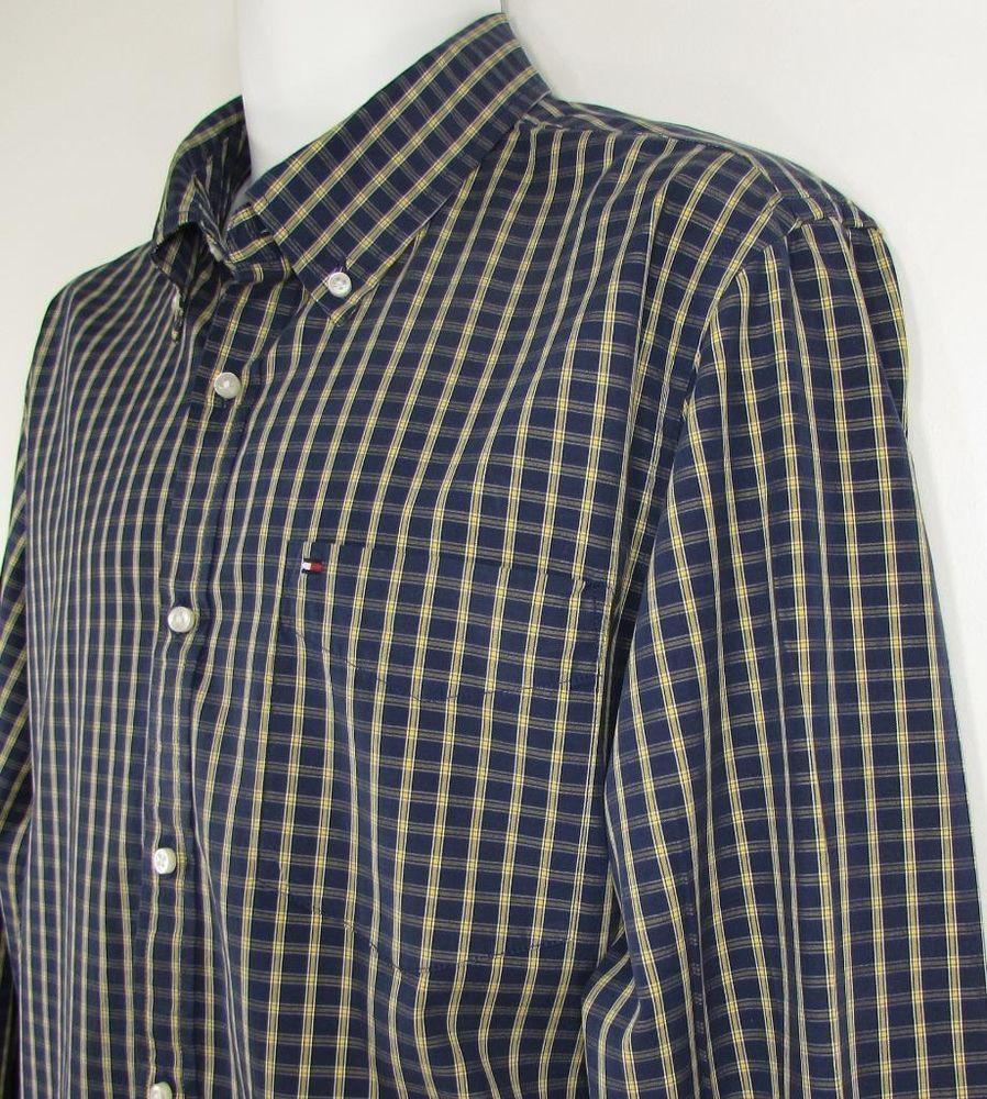 Men Tommy Hilfiger Plaid Shirt Custom Fit 80's 2 Ply Fabric 100% Cotton sz Large #TommyHilfiger #ButtonFront