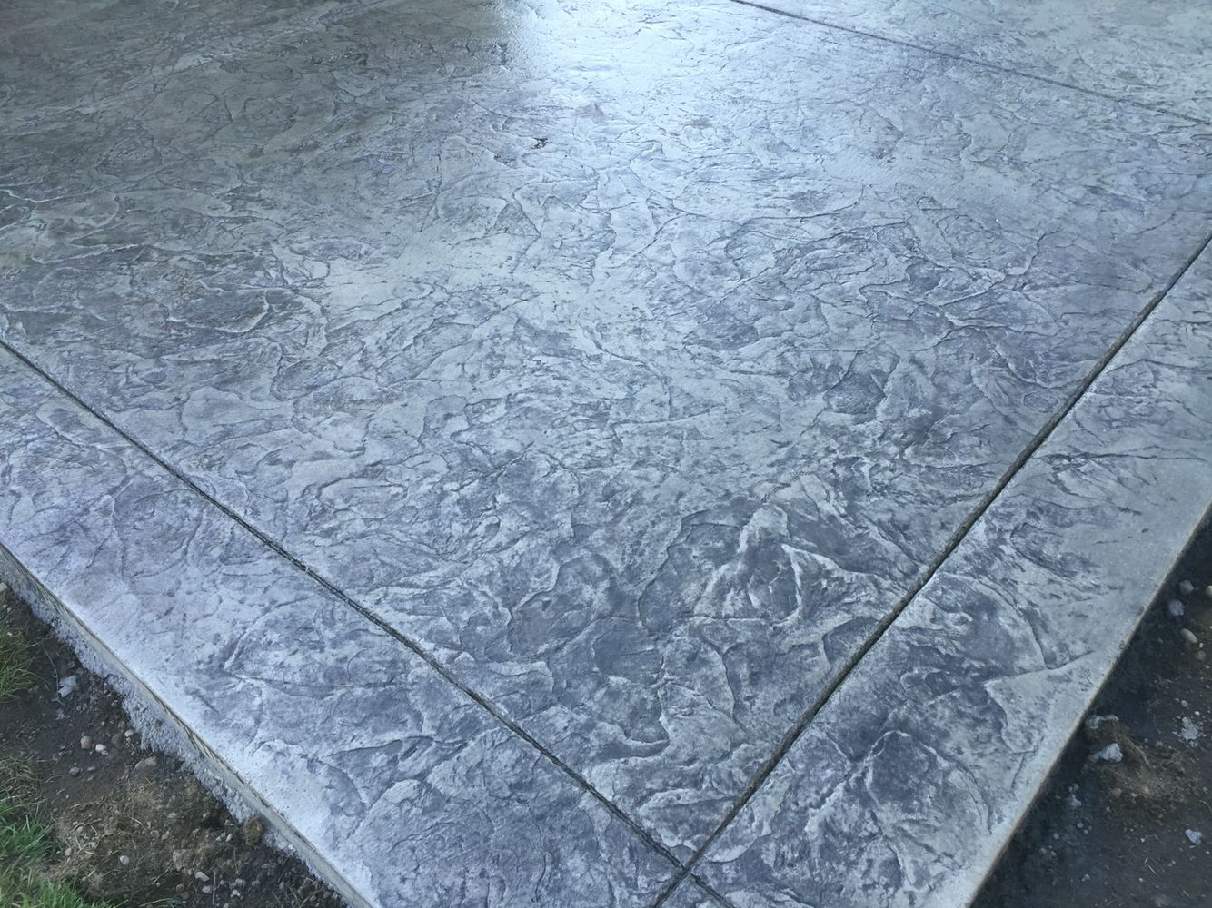 Oxford Slate Seamless Texture Stamp With Decorative Borders To Match Beautifully Finished With An Acrylic Cop Stamped Concrete Patio Stamped Concrete Concrete