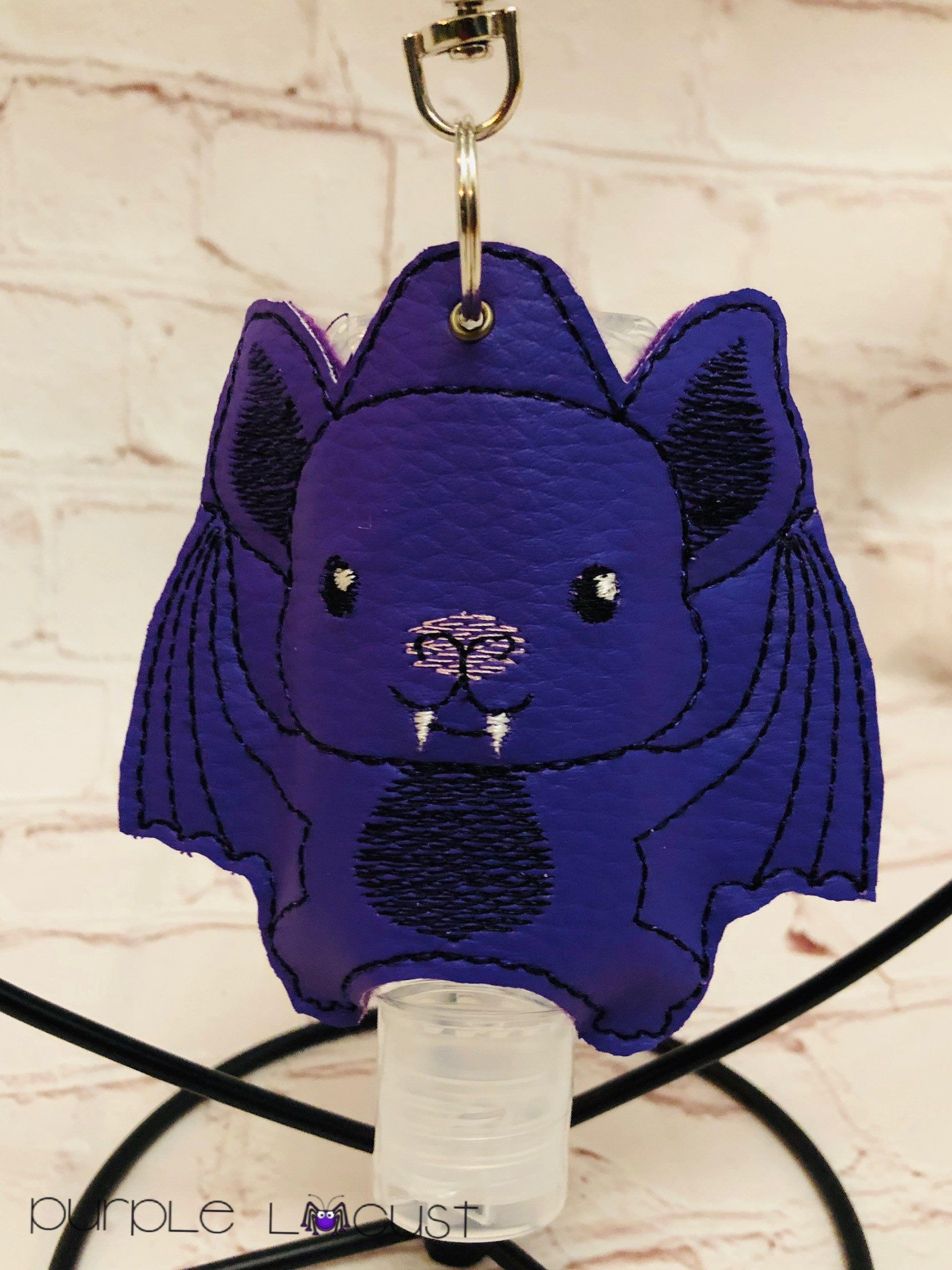 Bat Hand Sanitiser Holder Handbag Clip Purple Goth Hand