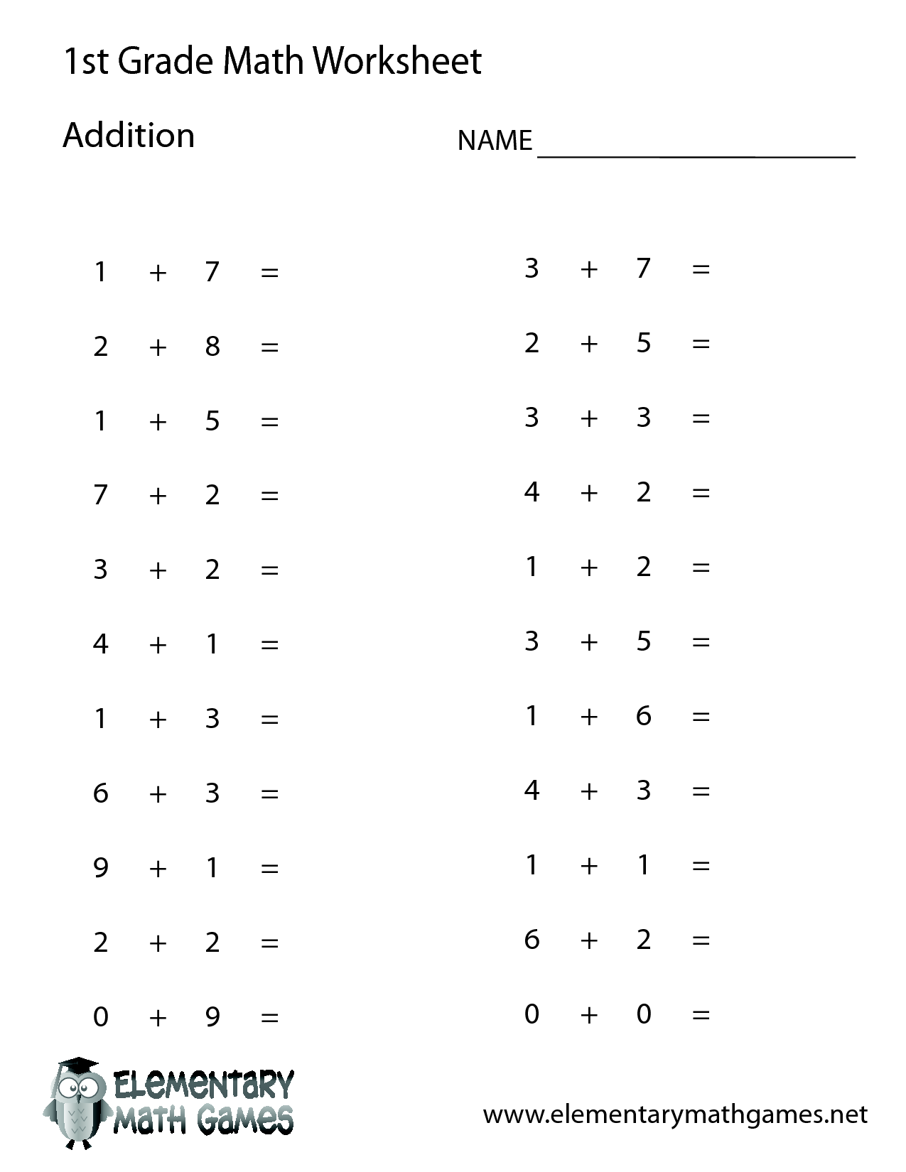 Worksheet Simple Addition And Subtraction Worksheets For First – Addition Worksheets for Grade 1