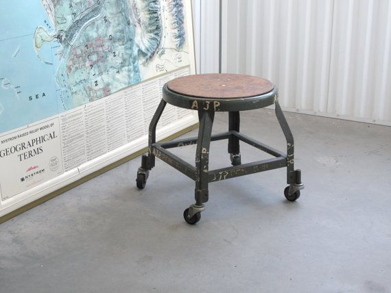 unique industrial furniture. reserved unique industrial metal shop stool on casters by hallowell dark green one of a kind vintage furniture d
